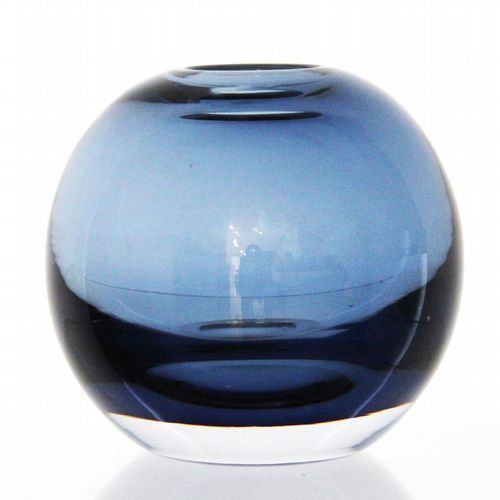 Belgian Glass Vase - Round - Ink Blue